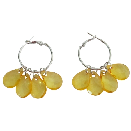 PUmkin Color Transparent Beads Cool Earrings For $1