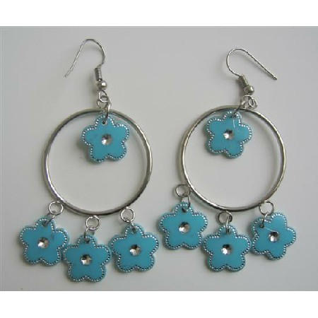 Sexy Blue Chandelier Hoop Blue Earrings Just For $1