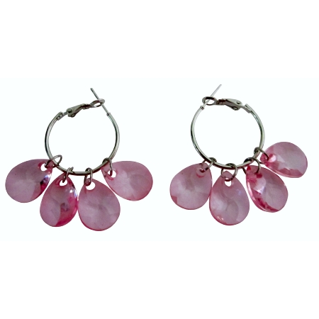 Delicate Sleek Lite Pink Dangling Earrings Simulated Glass Beadss