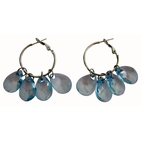 Glamour Hoop Earrings Blue Transparent Beads Chandelier Earrings