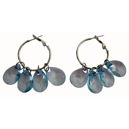 Glamour Hoop Earrings Blue Transparent Beads Chandelier Earrings