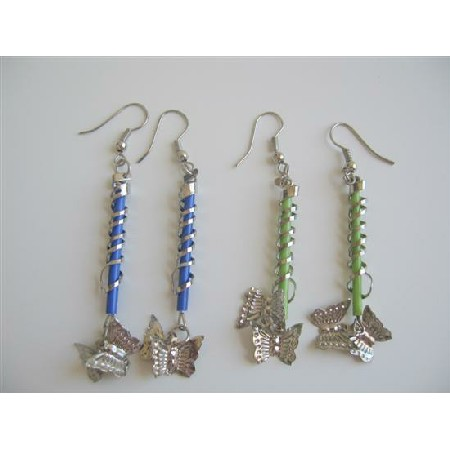 Butterfly Dangling Earrings In Green & Blue Color