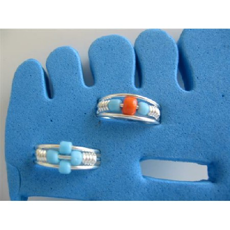 Toe Rings Adjustable In Blue & Red Silver Plated Cuff Rings Two For $1