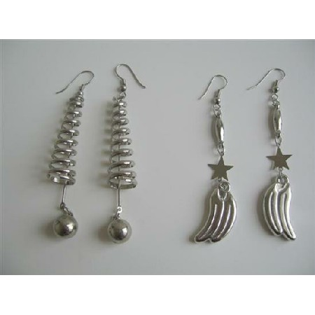 Elegant Glamorous Alloy Metal Earrings in Silver Color