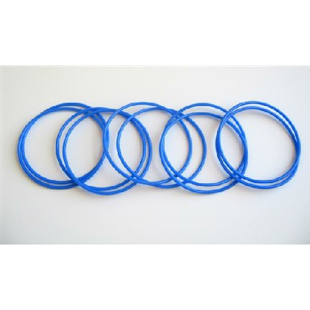 Royal Blue Sleek Delicate Bangles Set Of 10 Bangles For $1
