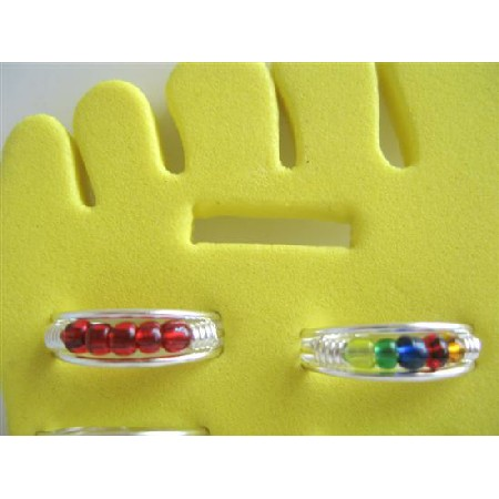 Cuff Toe Rings Adjustable In Red & Multi Colored Beads