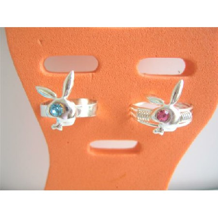 Very Stylish Rabit Style Toe Rings w/ Simulated Crystals Embedded