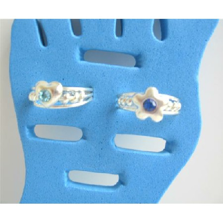 Flower & Heart Foot Toe Rings Simulated Crystals Adjustable Toe Rings