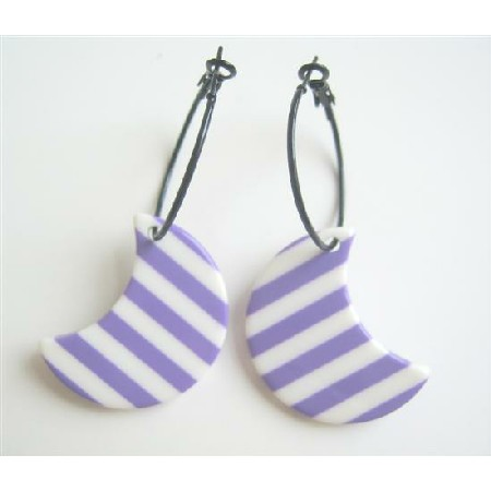Stripes Moon Hoop Purple White Stripes Pattern Half Moon Earrings