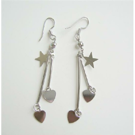 Stars Heart Alloy Material Dangling Chandelier Earrings
