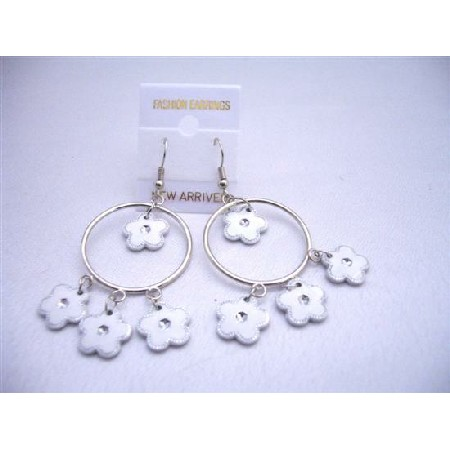 Earrings White Flower Dangling Inside & Out Hoop Chandelier Earrings