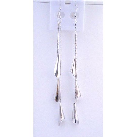 Corn Shaped Bead Dangling Silver Plated Strings 4 Inches Long Earrings