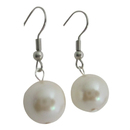 Cream Synthetic Pearls Earrings