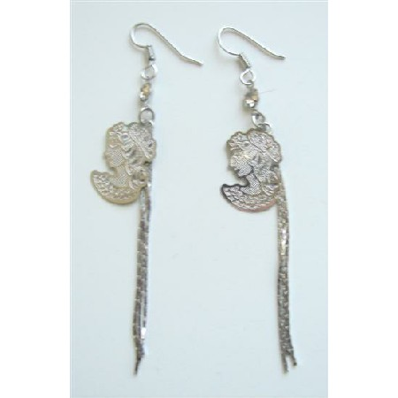 Long Chandelier Earrings Lady Cameo Photo w/ Long Tassel Earrings