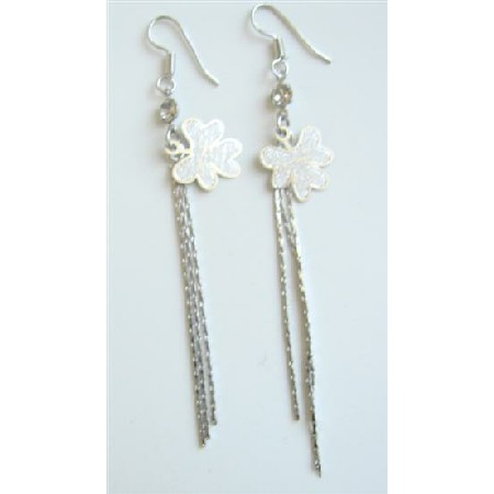 Alloy Enamel Flower Chandelier Earrings Long Tassel Drop Down Earrings