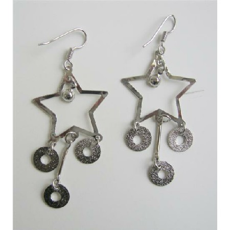 Big Stars w/ Dangling Beads Alloy Dangling Chandelier Earrings