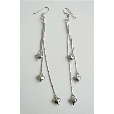 Heart Dangling Chandelier Earrings
