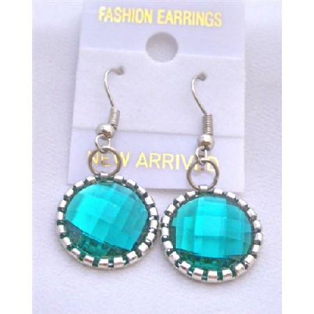Emerald Simulate Crystals Earrings