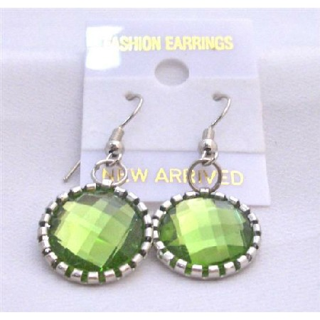 Olivine Earrings Embedded w/ Silver Oxidized Frame