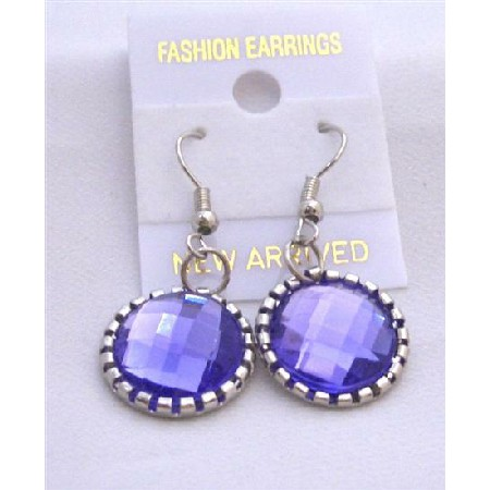 Tanzanite Ethnic Simulated Crystal Faceted Bead Earrings