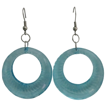Sexy Aquamarine Glass Hoop Earrings