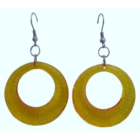 Fabulous Dollar Jewelry Yellow Glass Hoop Earrings