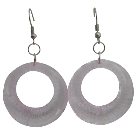 Clear Glass Hoop Earrings Dollar Earrings