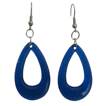 Cool Smashing Dollar Earring In Blue Glass Teardrop Earrings