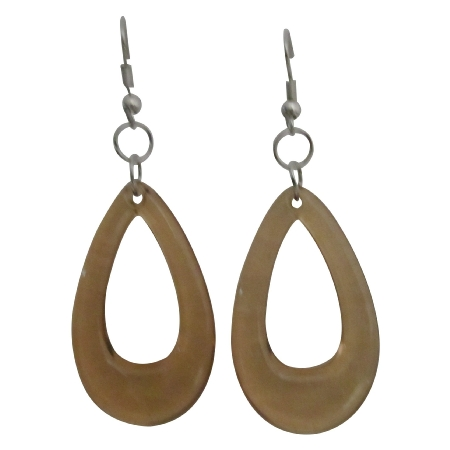 Dollar Jewelry Dollar Earrings Brown Glass Teardrop Dollar Earrings