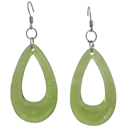 Peridot Green Glass Teardrop Dollar Earrings