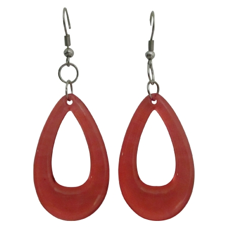Glass Teardrop Earrings Red Teardrop Dollar Earrings