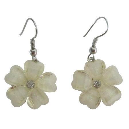 Enamel White Flower Simulated Diamond Earrings Dollar Earrings