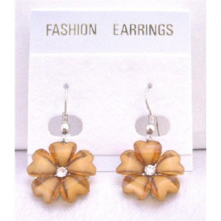 Shaded Topaz Enamel Brown Flower Earrings w/ CZ Dollar Earrings