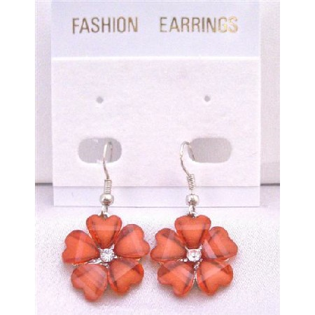 Sexy Red Flower Dollar Earrings Simulated Diamond In Center Earrings