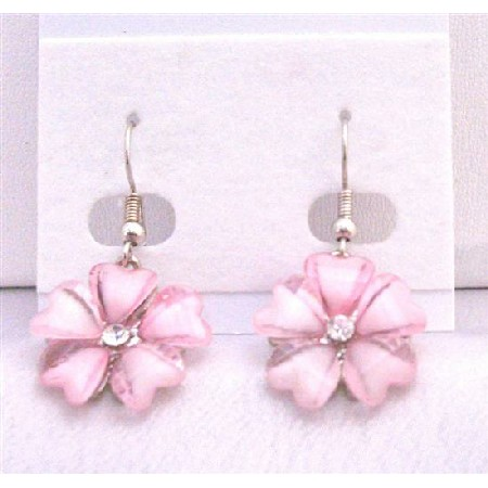 Rose Pink Sleek Enamel Flower Earrings w/ Simulated CZ Dollar Earrings
