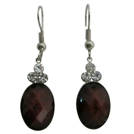 Jasper stone Colored Oval Bead Decorated 3 Simulated Diamond Earrings