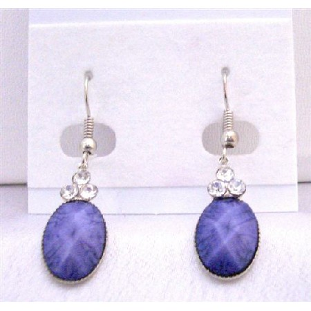 Ethnic Traditional Dollar Earrings Amethyst Stone Colored Oval Bead