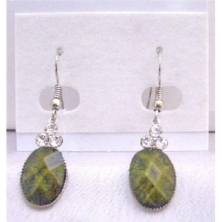 Traditional Ethnic Affordable Dollar Earrings in Olivine Green Colored