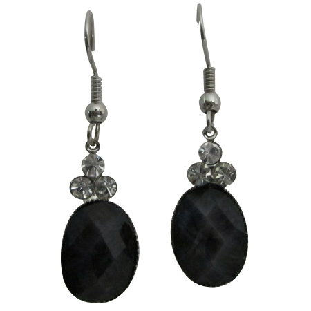 Black Oval Bead Dollar Earrings w/ 3 Simulated Diamond On The Top
