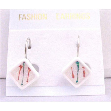 Diamond Shaped White Enamel Filled w/ Christmas Color Dollar Earrings