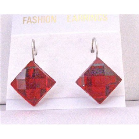 Passionate Red Dollar Earrings Romantic Red Diamdond Shapped Earrings