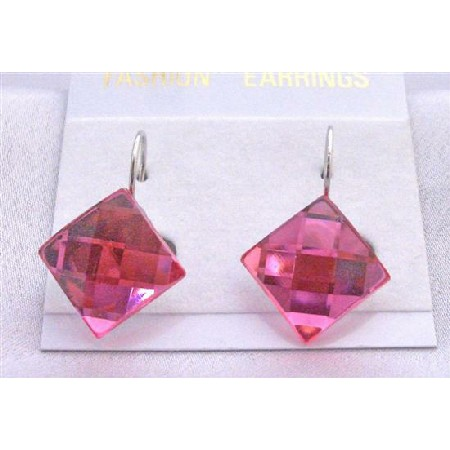 Shimmering Sexy Rose Pink Diamond Shaped Only For Dollar Earrings