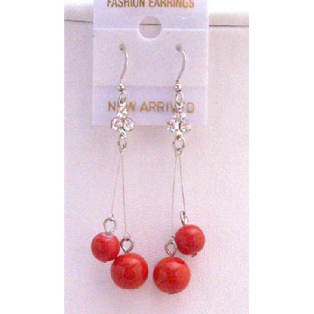 Red Ball Dangling Dollar Earrings Shimmering Sexy Dollar Earrings