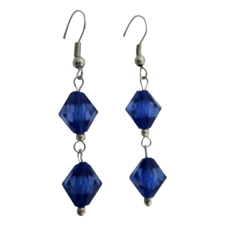 Dollar Earrings Simulated Crystals Sapphire Crystals Bicone Earrings