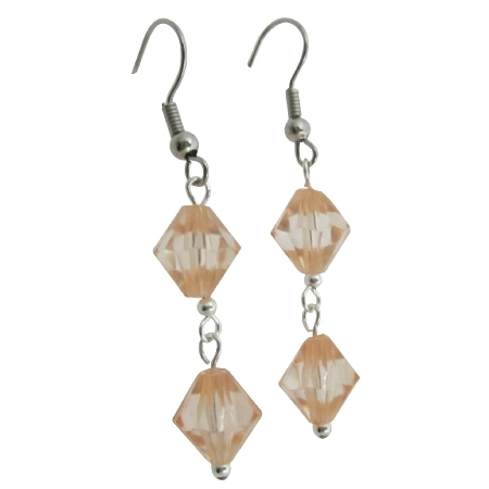 Peach Crystals Dollar Dainty Earrings Simulated Peach Bicone Crystals