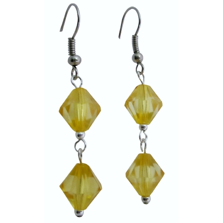 Yellow Lime Crystals Dollar Earring Simulated Crystals Bicone Earrings