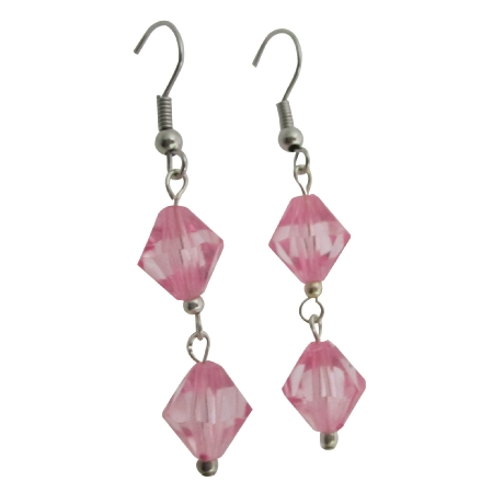 Rose Simulated Crystals Earrings Cheap Earrings Only Dollar Jewelry