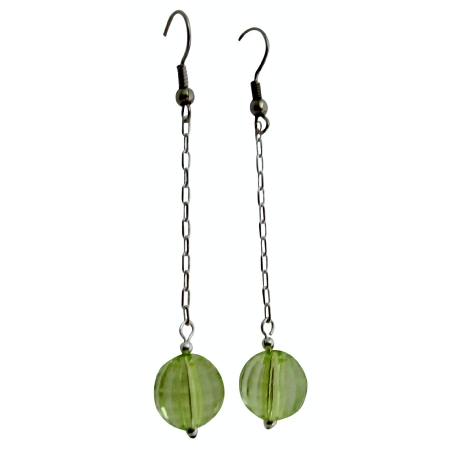 Peridot Acrylic Bead Dangling Earrings Stunning Amazing Dollar Earring