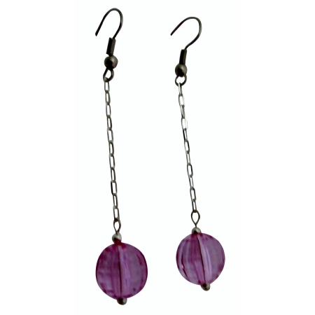 Acrylic Bead Jewelry Dollar Earrings Light Purple Ball Dainty Earrings