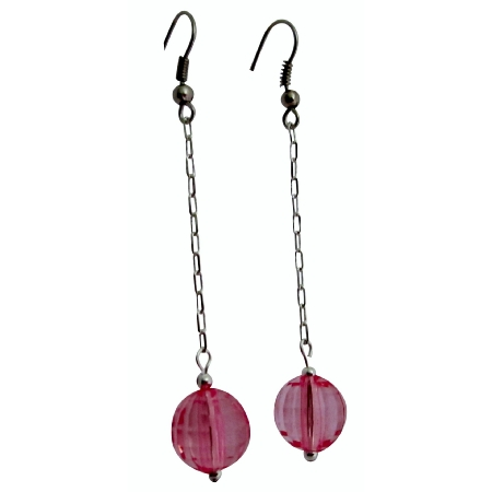Dainty Pink Earrings Sweet Pink Acrylic Bead Dollar Dangling Earrings